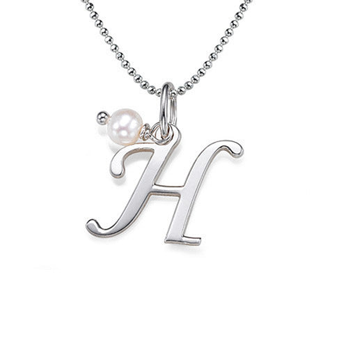 Silver Initial Necklace With Birthstone
