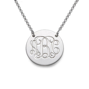 Personalized Silver Monogram Disc Necklace With Three Letters