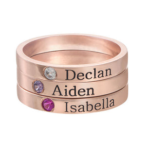 Three Birthstones Name Ring