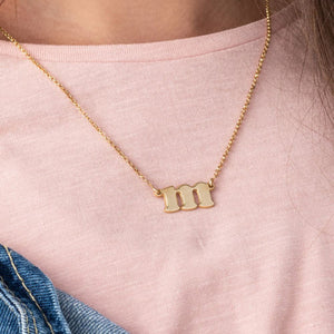 Small Initial Necklace in 18k Gold Plating