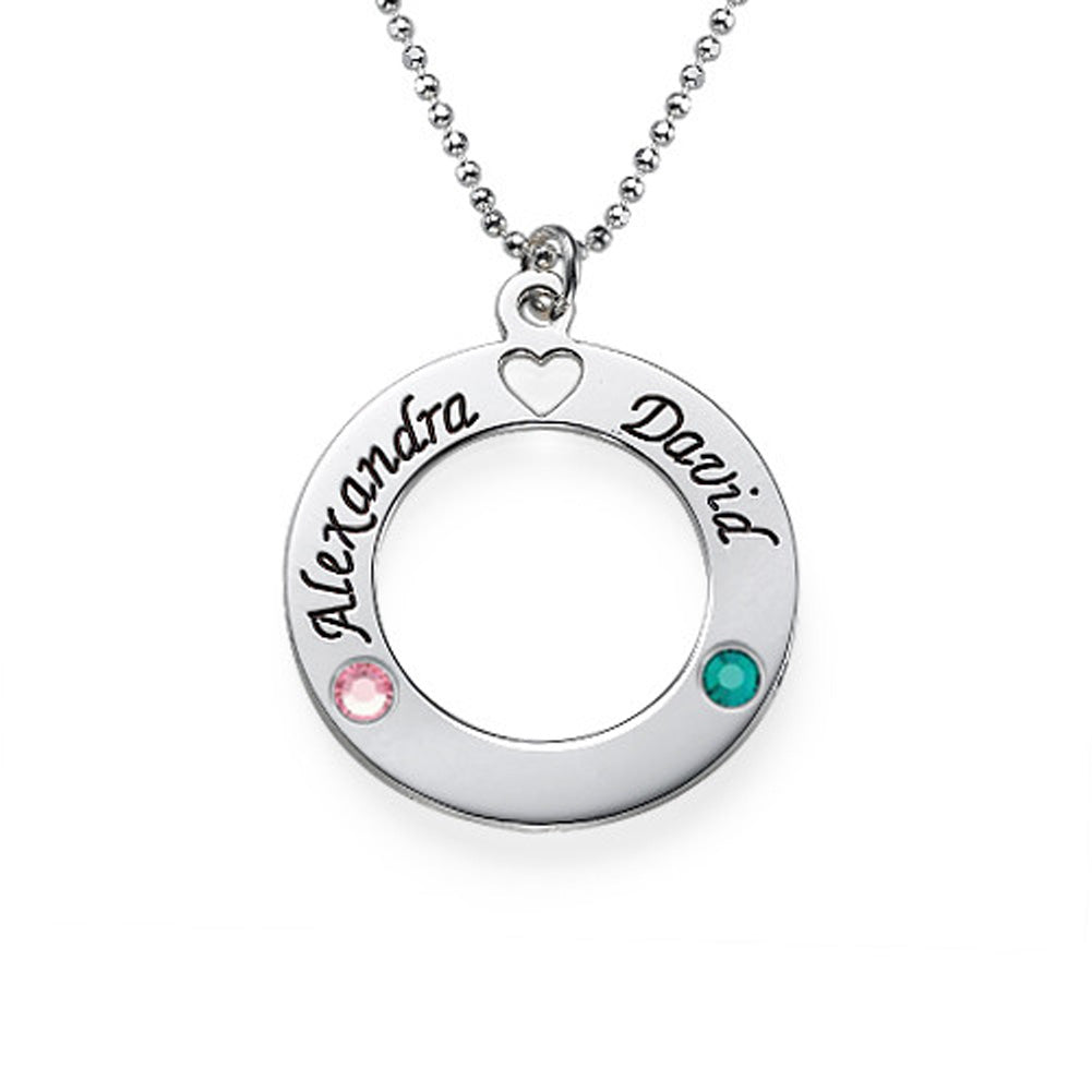Sterling Silver Circle of Life Name Pendant with Birthstones