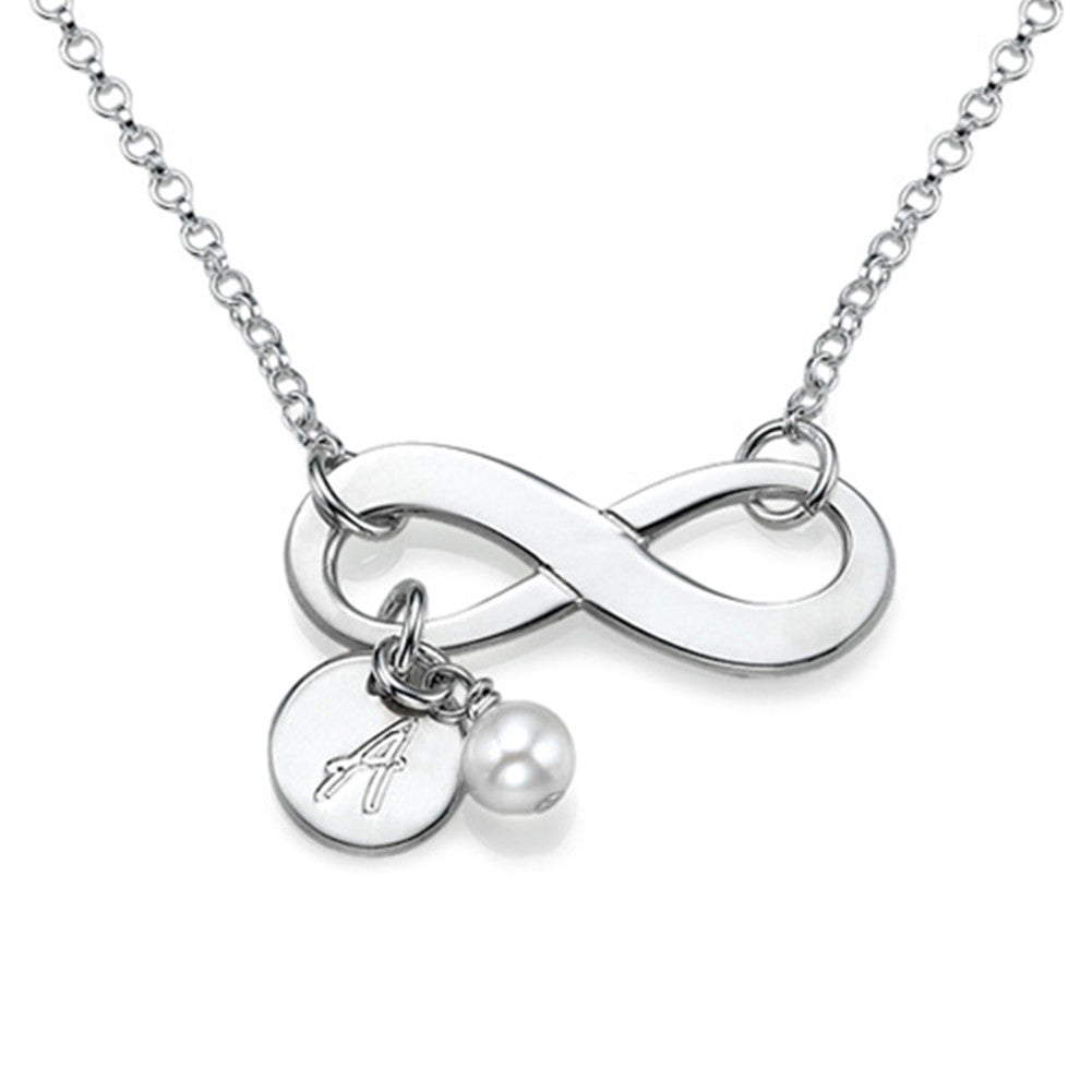 Infinity Necklace with Initial Pendant and Birthstone