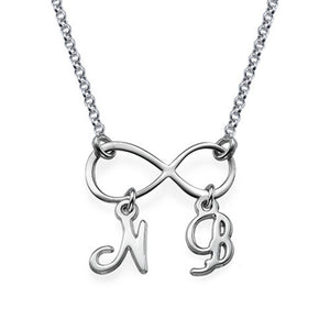 Sterling Silver Infinity Necklace with Initials