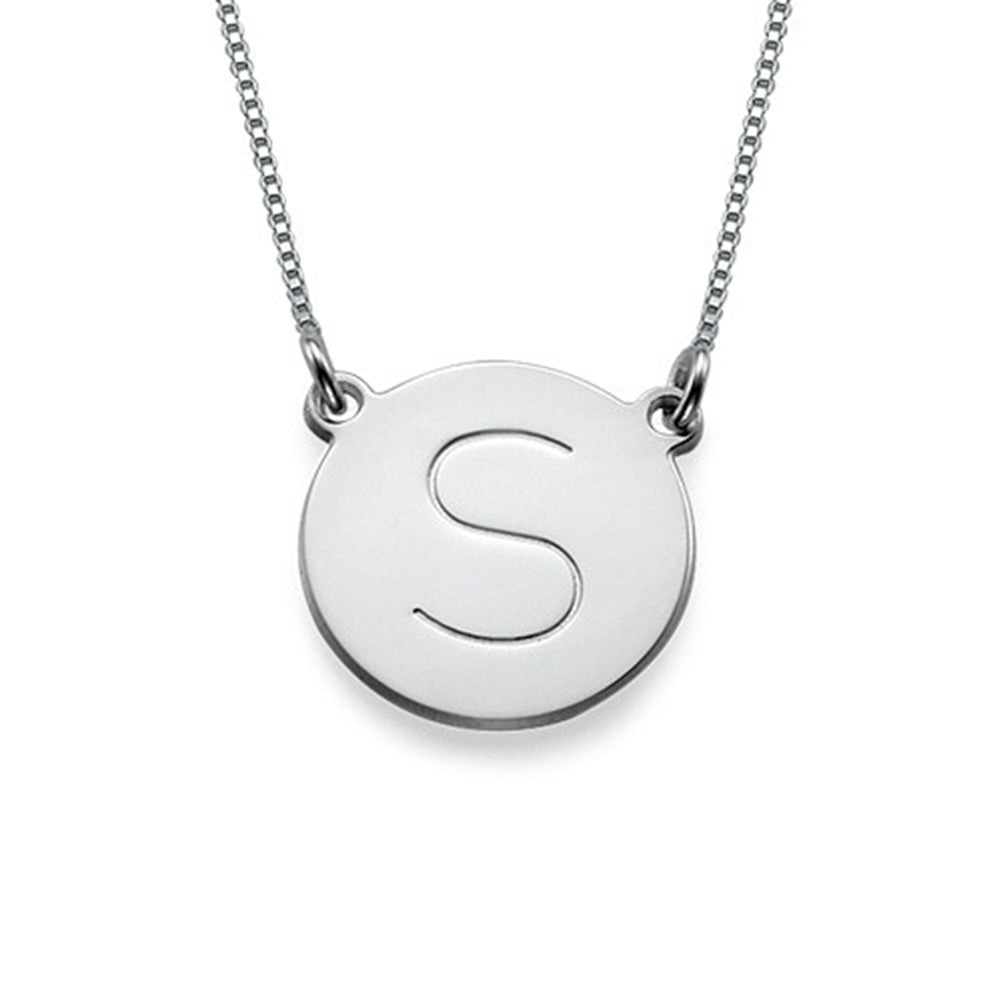 Circle Initial Pendant Necklace