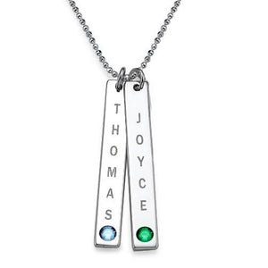 Sterling Silver Personalized Bar of Love Necklace with Swarovski Stone