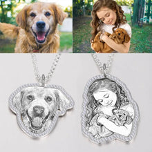 Load image into Gallery viewer, Photo Engraved Necklace, Girl and Dog- Black and White
