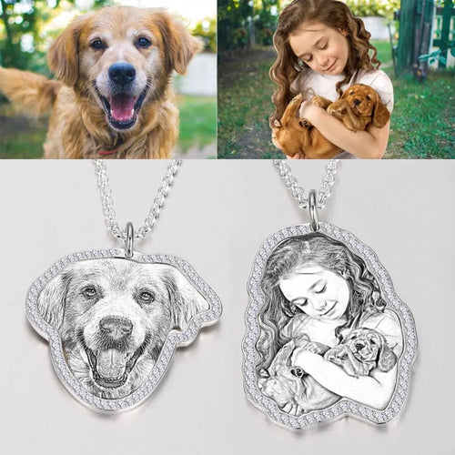 Photo Engraved Necklace, Girl and Dog- Black and White