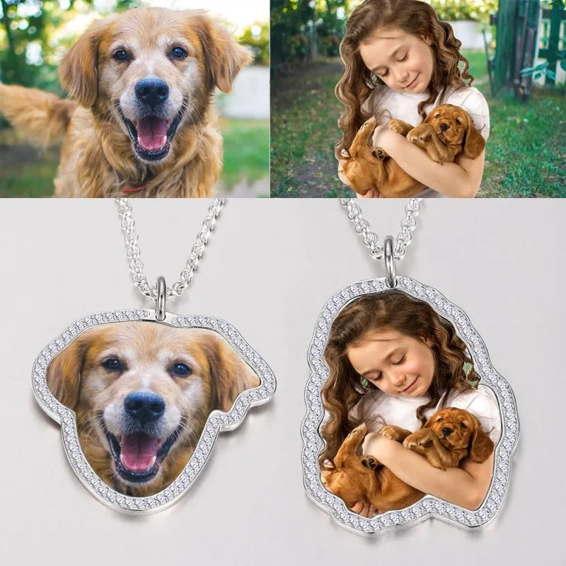 Photo Engraved Necklace, Girl and Dog- Colorful