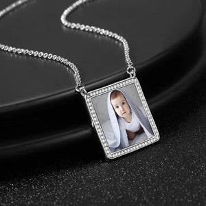 Photo Engraved Necklace Rhinestone Crystal Square Shape Photo Necklace Platinum Plated Silver - Colorful