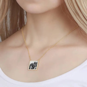Photo Engraved Necklace Rhinestone Crystal Square  - Photocopying