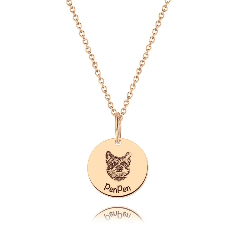 Photo Portrait Necklace Round Shape Rose Gold Plated