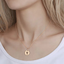 Load image into Gallery viewer, Photo Portrait Necklace Round Shape Rose Gold Plated