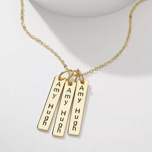 Bar Engraved Bar Necklace With Three Sticks