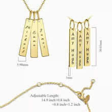 Load image into Gallery viewer, Bar Engraved Bar Necklace With Three Sticks