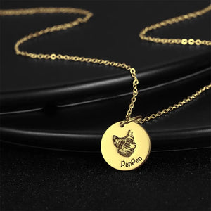 Photo Portrait Necklace Round Shape  Gold Plated