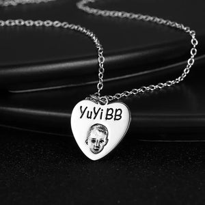 Photo Portrait Necklace Heart-Shaped Silver