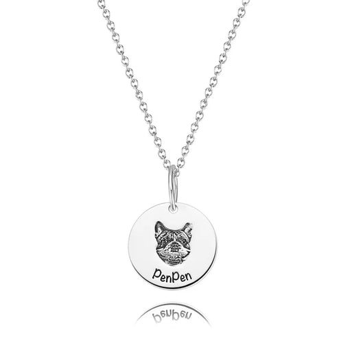 Photo Portrait Necklace Round Shape Silver