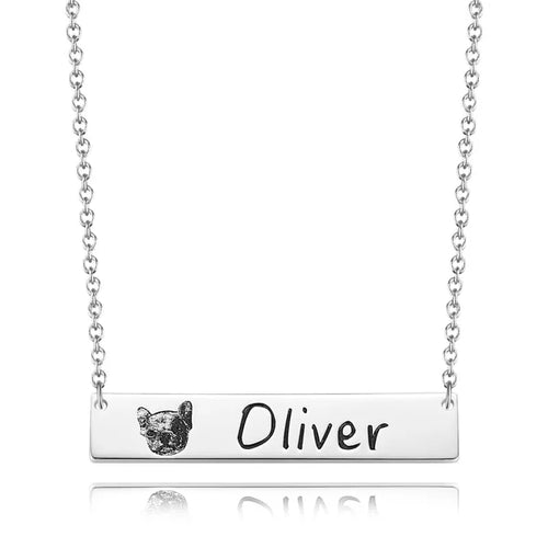 Photo Engraved Necklace by Sterling Silver