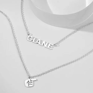 Name Necklace Finger Style Silver Plated