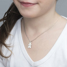 Load image into Gallery viewer, Teddy Bear Necklace with Initial in Silver