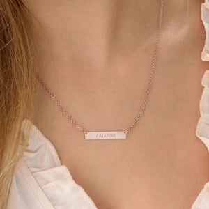 Tiny 18k Plated RoseGold Bar Necklace with Engraving