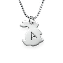 Load image into Gallery viewer, Tiny Rabbit Necklace with Initial in Silver