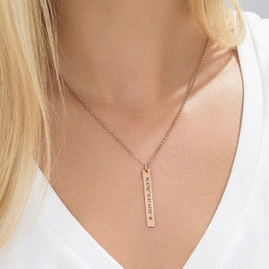Vertical Bar Necklace with Coordinated Rose Gold
