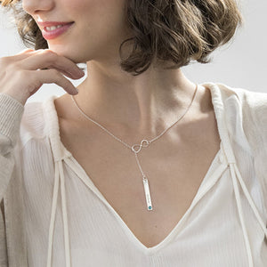 Vertical Bar Necklace with Infinity Charm