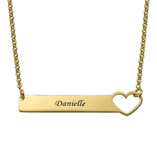Load image into Gallery viewer, Custom Engraved Horizontal Bar Necklace with Heart