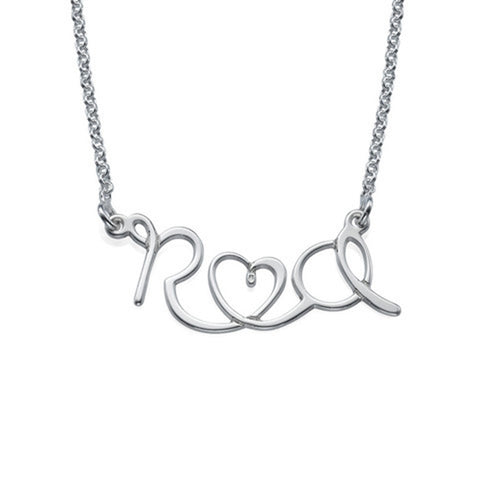 Wire Style Lovers Initial Necklace
