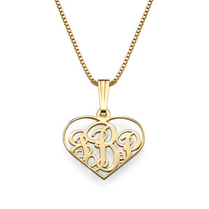 Heart Monogram Necklace Three Letters