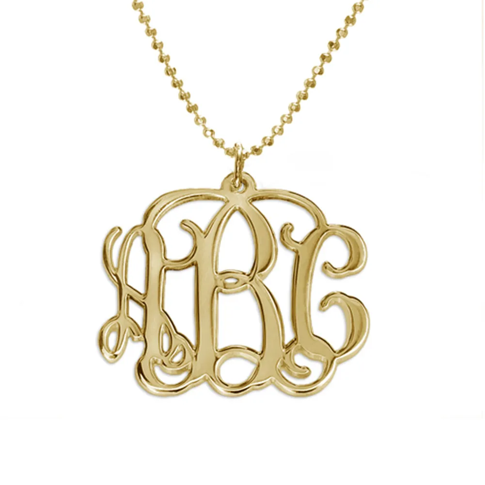 Custom Sterling Silver 3 Initial Monogram Necklace