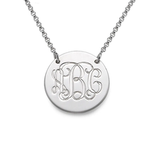 Load image into Gallery viewer, Custom Sterling Silver Monogram Disc Necklace