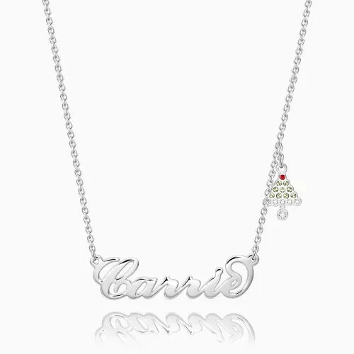 Christmas Tree Name Necklace Silver With Bell