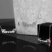 Load image into Gallery viewer, Christmas Tree Name Necklace Silver With Bell