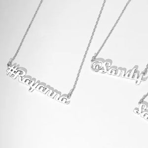 Hashtag Name Necklace Silver