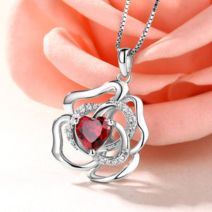 Custom Rose Flower Necklace With Heart Birthstone