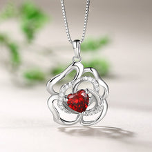 Load image into Gallery viewer, Custom Rose Flower Necklace With Heart Birthstone