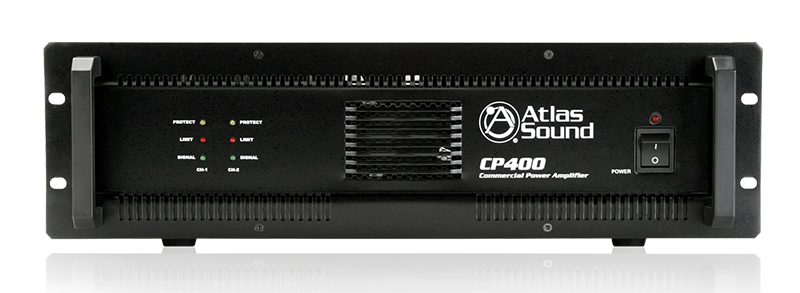 Atlas CP400 Power Amplifier Commercial Professional Grade Dual Channel Amp with 70V Audio Outputs