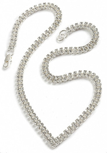Striking Two Strand V Necklace - In Swarovski Crystal