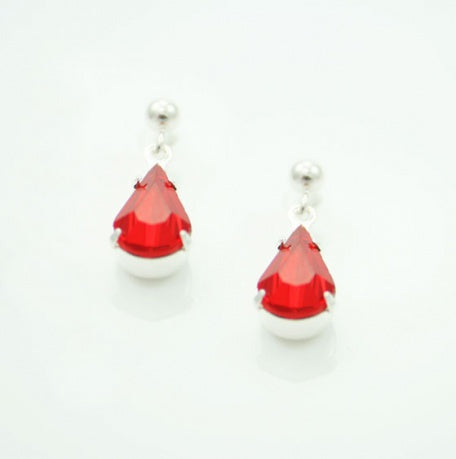 Light Siam Tear Drop Earrings - Swarovski Crystal