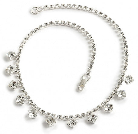 Square Cut Single Strand Necklace - Swarovski Crystal