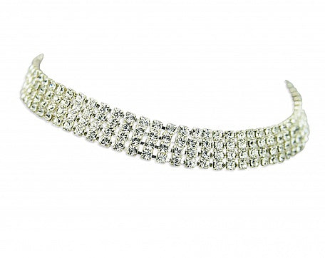 Crystal Four Row Choker (choose colour) In Swarovski Crystal