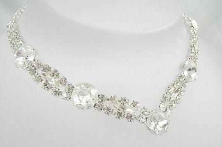 Lavish Square & Navette Necklace - In Swarovski Crystal