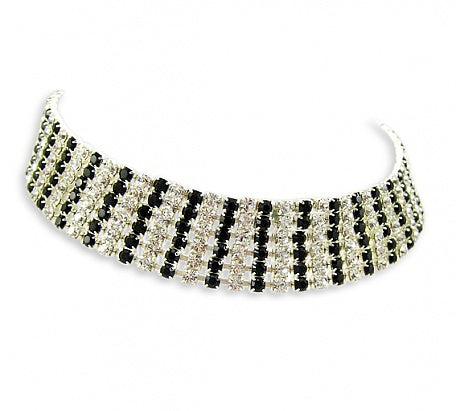 Crystal/Jet Six Row Diamante Choker - In Swarovski Crystal
