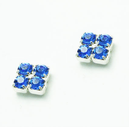 Sapphire Crystal Square Earrings - Swarovski Crystal