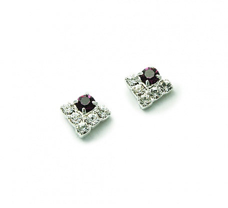 Crystal & Amethyst 'Triangle' Earrings - In Swarovski