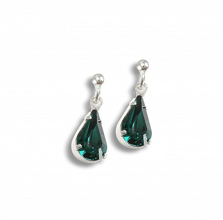 Emerald Crystal Tear Drop Earrings - Clip or Pierced