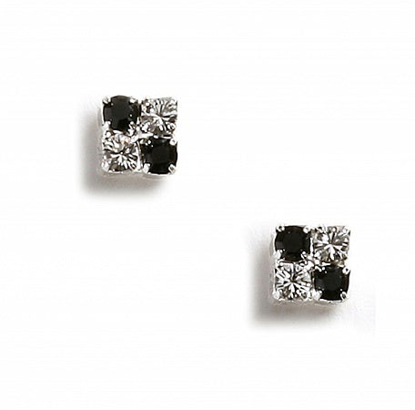 Jet & Crystal Square Earrings - Swarovski Crystal