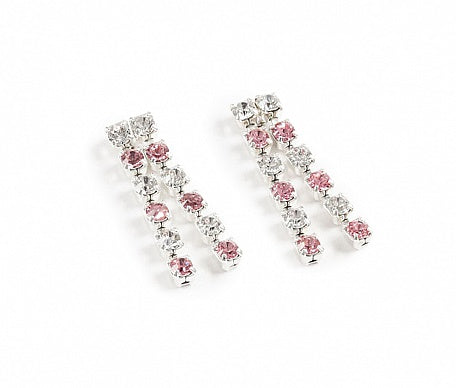 Crystal & Pink Diamante Drop Earrings - Swarovski Crystal